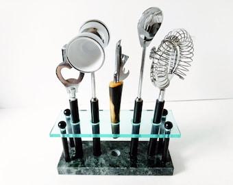 Vintage Bar Tool Set, Lucite Marble Stand, Stainless Steel utensils, mid century barware, mod bartender mixology art deco barmates utensils
