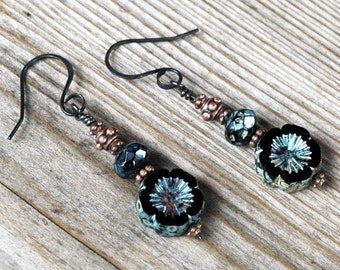 Black Beaded Earrings, Casual Style, Czech Glass Flowers with Piccasso Finish, Copper Accents, Hand Shaped Antiqued Copper Wires