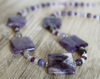 Chevron Amethyst Squares with Moonstone and Swarovski Crystal Gemstone Necklace / Square Stone / Gifts for Her / Gifts for Women / Unique