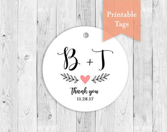Printable Favor Tags, Wedding Name Tags, DIY Thank You Tags, Print at Home Tags, Name Initials Tags