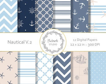 Nautical digital paper - Nautical clipart - Scrapbook paper, Ocean Digital Paper, Anchor Digital Paper, Commercial use - Nautical Version 2