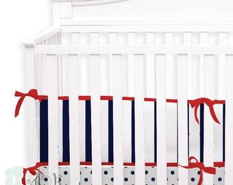 Navy & Red Americana 2-in-1 Crib Bumper/Rail Cover | Convertible Baby Boy Bumper Set | Americana Crib Bumper Set