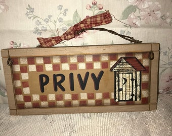 Primitive Country Rustic Privy Outhouse Bathroom Wall Hanging Sign Decor