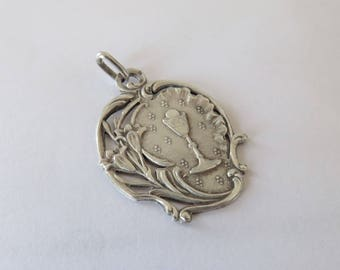 Antique French, Silver Communion Pendant, SHIPPING INCLUDED