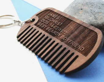 Dog tag beard comb - Wood moustache comb - Beard grooming - personalised keyring - custom comb - personalised hipster - gift for men