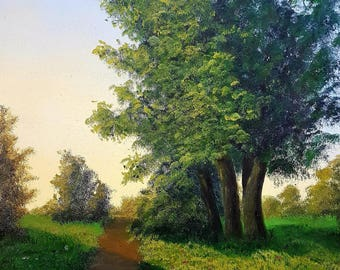 """Oil Landscape Painting Print 16x20 """"Lit Path"""""""