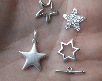 Sterling Silver Textured Star Component, Brushed Star Charm, or Open Star Charms, or clasp(you choose which style)