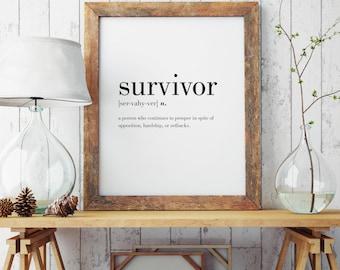 Survivor Definition Print | Survivor Wall Art | Survivor Poster | Minimal Print | Modern Print | Type Poster | INSTANT DOWNLOAD #DP29