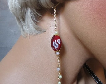 Long Earrings Red and White Glass and Pearl Chain Earrings Leverback