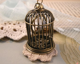 1 Pc Large SWINGING Ceramic Bird on Perch Birdcage Pendant Charm Antique Bronze Bird Cage Vintage Style Pendant Jewelry Supplies (BC047)