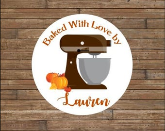 Personalized Kitchen Mixer Stickers    From the Kitchen Of Stickers    Autumn Baked Goods Stickers   Autumn Kitchen Mixer  Brown Mixer Tags
