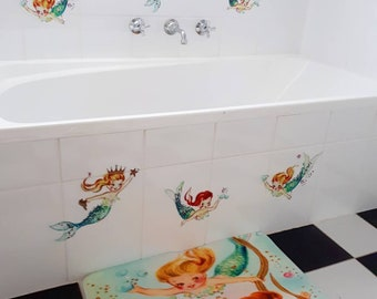 Kitsch vintage retro NEW Mermaid wall stickers sticker decals home room girl pinup bedroom vinnie boy bathroom removable