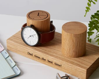 Double Column Watch Stand / Personalised Watch Display / Gifts for Dad / Gifts for Him / Personalized Two Watch Storage / Father's Day Gift