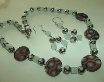 925 Silver Venetian Glass disk Bead Gray square beaded Necklace set.