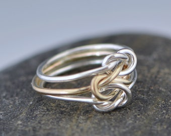 Triple Love Knot Ring, Silver Love Knot, Knotted Ring, Family Ring, Promise Ring, Bridesmaid Jewelry, Triple Band Ring, Gift For Her