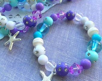 Mermaid party, jewelry favor, kids, stretchy, bracelet, starfish, ocean inspired, aqua, turquoise. Set of FIFTEEN.