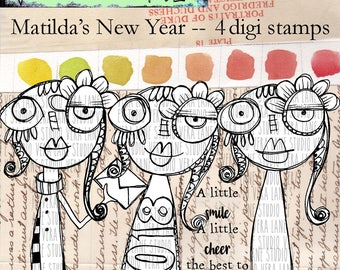 Matilda's New Year -- 4 digi stamp set in jpg and png files for instant download