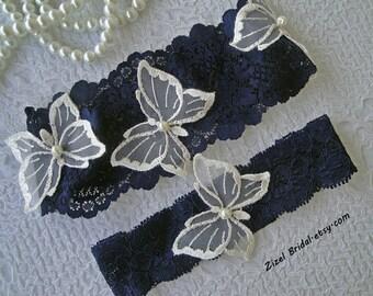 Navy Blue Garter, Wedding Garter Set, Blue Lace Garte, Butterflies  Garter, Bridal Garter Set, White Wedding Garter, Something Blue Garter