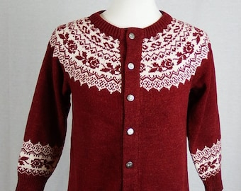 1960s Womens Vintage Red and Cream Hand Knit Long Sleeve Sweater