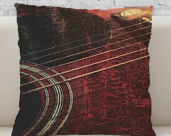 NEW!! Red Guitar Throw Pillow.  Available in Ultra-soft Microfiber, Fleece, or Polypoplin (Indoor/Outdoor Use)