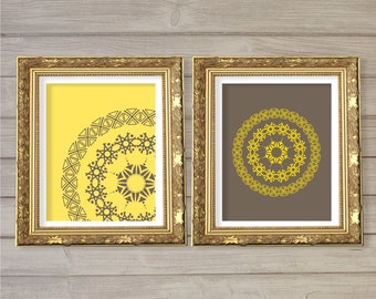 Geometric Circle Mandala Pattern Printable Wall Art Grey Yellow Set of 2-8x10- Symmetrical Instant Download Digital Print Living Room Decor