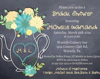Printable Bridal Shower Invitation Chalkboard Floral Teapot Rustic Invitations Wedding Shower Teapot Invitation Teapot invitations