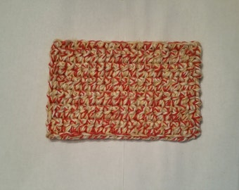 "OOAK, Red, tan and off white, rectanglular, 4 1/2"" x 3"", hand crocheted rug, flooring, dollhouse or diorama rug"