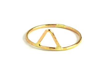 Triangle Ring, Geometric Stacking Ring, Midi Ring