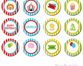 PRINTABLE Carnival Party Circles (Personalized) #518