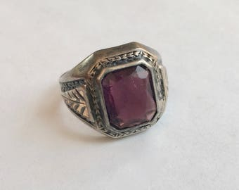 vintage sterling ring with a bit of 10k gold, purple stone, size 7.5