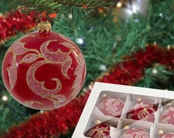Christmas handpainted ornaments-tree decoration ball-red ball bauble tree-red christmas ball-red christmas baubles-ornament set baubles-030