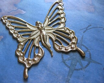 1 PC Raw Brass Pierced Nouveau Butterfly Fairy / Extra Large - MM12
