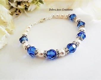 Sapphire Birthstone Bracelet September Birthstone Jewelry Sapphire Blue Jewelry Sapphire Bracelet September Birthday Jewelry Gift For Mom