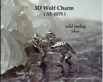 Sterling Silver Wolf Charm, .925 Silver Wolf Necklace, 3D Wolf Jewelry, Small Sterling Wolf 3-Dimensional Wolf Charm - SE-1075