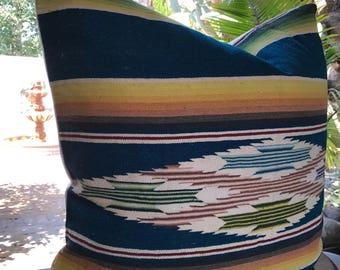25x25 Vintage Mexican Textile Serape Stripe Boho Pillow Cover