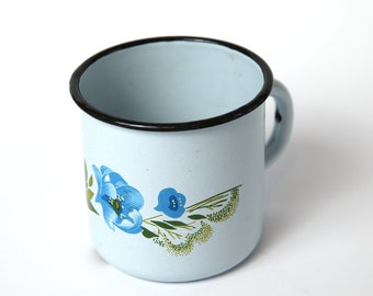 Blue vintage enamel camping Cup, Kitchen decor, Farmhouse decor, enamel camping mug, White vintage enamel camping Cup
