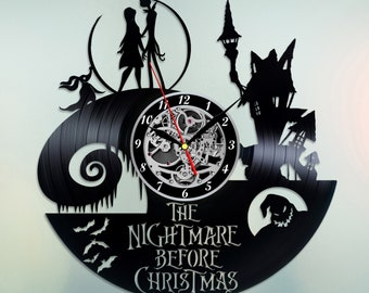 The Nightmare Before Christmas Vinyl Clock Vinyl Record Wall Art Handmade Decor Best Original Vintage Gift For Fans Room Decoration