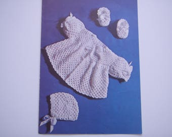 Vintage Crochet Baby Pattern PDF copy Jacket bonnet and Bootees 1980's 3 ply yarn