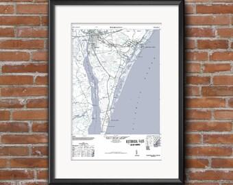 Wilmington NC, Beach Decor, Wilmington Art, Wilmington, North Carolina,  Map Art, Vintage Map, Wall Art