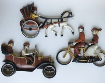 Vintage Homco Wall Plaques Horse and Buggy Tandem Bicycle and Automobile