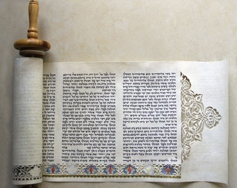 Judaica- purim Meguilat Esther Paper cut  and Illustration on parchment, Purim megilla, Purim gift.Israel art, Made in Israel
