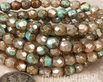 6mm Czech Glass Faceted Round Beads (25) - Champagne Opalite Turquoise Green Luster Picasso Fire Polished Bohemian -  Central Coast Charms