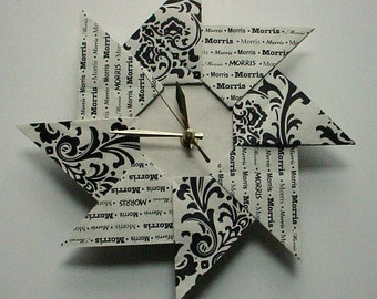 Custom Family Last Name Housewarming Wedding Gift Origami Clock - Damask