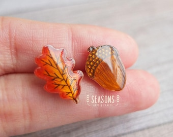 Handdrawn Oak Leaf/Acorn Stud Earrings Post Earrings - Mixmatched Shrink Plastic Earrings - Autumn/Fall Earrings - Jewelry Gift Idea