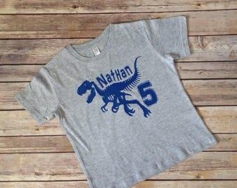 Dinosaur Birthday Shirt - Fossil Birthday Shirt - Fifth Birthday Shirt - PICK YOUR NUMBER!