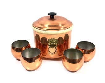 Roly Poly Glasses & Ice Bucket with Lion's Head Handles by Coppercraft Guild, Mid Century Barware Set with 4 Copper Roly Poly Cups