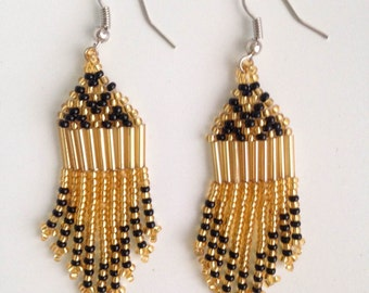 MADE IN AFRICA beaded bohemian earrings// gold