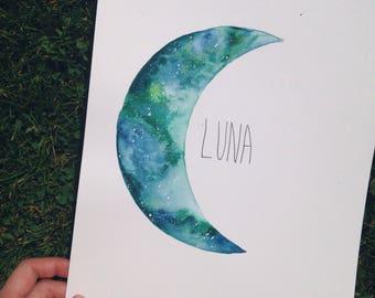 Moon, Moon Painting, Boho Decor, Galaxy Painting, Nursery Decor, Baby, Watercolor Moon, Moon Art, Festival, Bedroom Decor, Galaxy Pain
