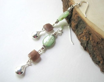 Long Gemstone Earrings, Green Kyanite and Chocolate Moonstone, Sterling Silver Teardrops, Unique One of a Kind Earrings, Pretty Gift for Her