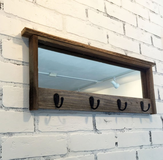 Foyer Mirror With Hooks : Entryway mirror with four coat hooks rustic reclaimed wood